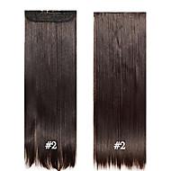 """grampo no cabelo 24 """"60 centímetros 120g # 2 longo clipe reta sintética no cabelo extensões pedaços 5 clipes de fibra de alta temperatura"""