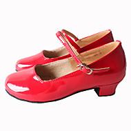 Customizable Women's Dance Shoes Latin / Samba Leatherette Chunky Heel Black / Red / Silver / Gold