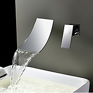 Wall Mounted Waterfall Bathtub Basin Brass Faucet Chrome Shower Mixer Tap