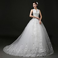2017 Ball Gown Wedding Dress Court Train Halter Lace / Tulle with Appliques / Beading