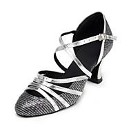 여성의 가죽 어퍼 buckie 삼바 댄스 신발 하이힐