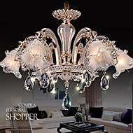 6 Lights Modern Simple European Style Chandeliers Flowers Crystal  LED Pendant Lights