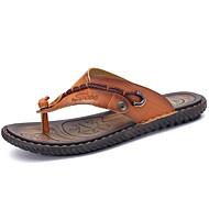 παντόφλες ανδρών&flip-flops άνοιξη καλοκαίρι άνεση πτώση δέρμα nappa εξωτερική απλό διαχωρισμό κοινής καφέ ανάντη παπούτσια