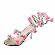 Feminino-Sandálias-Saltos / Peep Toe-Salto Agulha-Rosa / Prateado / Dourado-Courino-Escritório & Trabalho / Casual / Festas & Noite