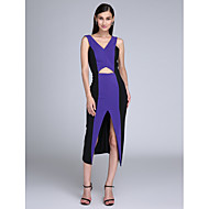 TS Couture®Cocktail Party Dress Sheath / Column V-neck Tea-length Chiffon with Split Front