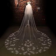 웨딩 면사포 두층 성당 베일 컷 가장자리 명주그물 / 레이스 아이보리