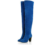 Boots Fall / Winter Motorcycle Boots PU Casual Chunky Heel Split Joint Black / Blue / Gray