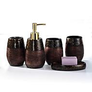 pryskyřice koupelnové sady (1 ruční sanitizer láhev, 2 šálky, 1 držák na zubní kartáček, 1soapbox)