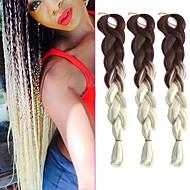 """En pakke brun ombre kremaktig hvit hekle 24"""" yaki Kanekalon fiber 100 g 2-tone jumbo fletter syntetisk hår"""
