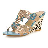 נעלי נשים - סנדלים / בלרינה\עקבים / קבקבים וכפכפי עקב - סינטתי - פלטפורמות / עקבים / נעלים עם פתח קדמי / נעלי בית - כחול / זהב -שטח /
