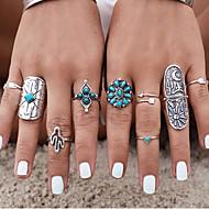 Κρίκοι Πεπαλαιωμένο Καθημερινά / Causal Κοσμήματα Γυναικεία Δαχτυλίδια για τη Μέση του Δαχτύλου 1set,7 Ασημί / Μπλε