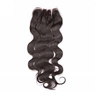 Noir Naturel (#1B) U Part Ondulation naturelle Cheveux humains Fermeture Marron clair Chinese Lace gramme Moyenne Cap Taille
