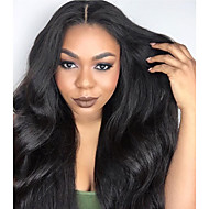 Fashion Long Bouncy Soft Body Wave Natural Black Off Heat Resistant Hair Synthetic Lace Front Wigs