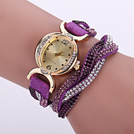 Women's Bohemian Style Crystal Leather Band White Case Analog Quartz Bracelet Fashion Watch