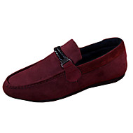 Men's Flats Spring / Fall Moccasin / Round Toe Fleece Casual Flat Heel Ruched / Others Black / Blue / Red Walking