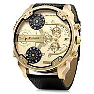 Men's Military Fashion Big Dual Time Zones Leather Band Quartz Watch