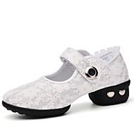 Non Customizable Women's Dance Shoes Lace Dance Sneakers Chunky Heel Performance Black / Red / White EU36-39