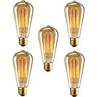 5pçs ST64 lâmpada e27 40W incandescente do vintage edison para bares café restaurante do clube de luz (220-240V)