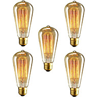 5pcs הנורה וינטאג E27 st64 40W ליבון אדיסון אור עבור בתי קפה מועדון מסעדה להדליק (220-240V)