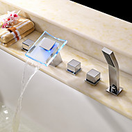 Contemporary / Art Deco/Retro  Tub And Shower LED / Waterfall /  Handshower Included with  Ceramic ValveThree Handles