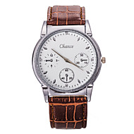 Men's Casual Leather Band White Chance Case Dress Watch