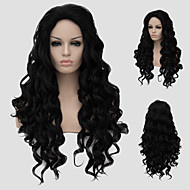 European fashion hot new oblique bangs long curly hair.