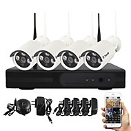 YanSe® 1.0MP PNP Wireless NVR Kit IR Night Vision Security IP Camera WIFI CCTV System(4pcs/HDMI/720P/P2P)