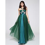 Formell kveld Dress A-linje Sweetheart Gulvlang Tyll med Krystalldetaljer / Drapering / Blonder / Ruchiing / Paljetter