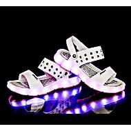 Genç Erkek Sandaletler Rahat Işıklı Ayakkabılar PU Yaz Günlük Yürüyüş Rahat Işıklı Ayakkabılar Düz Topuk Beyaz Siyah Koyu Mavi Kahverengi