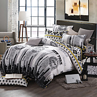 City Life Print Bedlinen Fleece winter bedding set queen king size soft bedsheet pillowcase Duvet cover 4pcs bed set