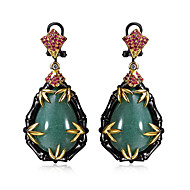 Earring Oval Jewelry Women Fashion Wedding / Party / Daily / Casual Cubic Zirconia / Copper 1 pair Black / Coppery