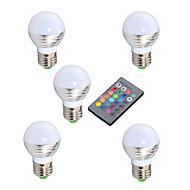 3W E14 / GU10 / E26/E27 LED-pallolamput A50 1 Teho-LED 200 lm RGB Himmennettävä / Kauko-ohjattava / Koristeltu V 5 kpl
