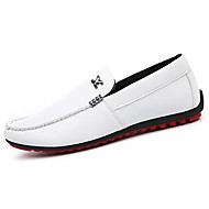 Women's Shoes Leather Spring Fall Comfort Flats Loafers & Slip-Ons Outdoor Casual Flat Heel Slip-on Black  White Walking