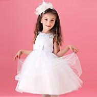 A-line Knee-length Flower Girl Dress - Tulle Sleeveless Jewel with Beading / Bow(s)
