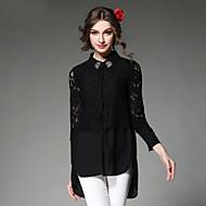 Vrouwen Eenvoudig Lente Overhemd,Casual/Dagelijks Effen / Patchwork Overhemdkraag Lange mouw Wit / Zwart Polyester Medium