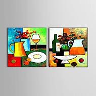 Ručně malované Abstraktní / Zátiší / Volný čas olejomalby,Moderní / evropský styl Dva panely Plátno Hang-malované olejomalba For Home