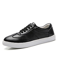 Women's Oxfords Spring/Summer/Fall/Winter Comfort/Styles/Round Toe/Closed Toe/Flats Cowhide Casual Flat Heel upBlack