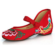 Bez podpatku-Plátno-Pohodlné / Mary Jane-Dámská obuv-Černá / Červená-Běžné-Plochá podrážka