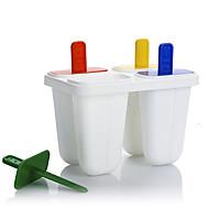 Set Of 4 Frozen Clear Plastic Ice Cream Tool Mould Popsicle Maker Fish Kitchen Mold DIY Long(Random Colours)