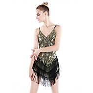 Latin Dance Dresses Women's Performance Spandex Polyester Sequins Tassel(s) 1 Piece Dress 90