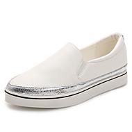 Dame-Kunstlær Mikrofiber-Platå-Komfort-Flate sko-Fritid-Svart Hvit