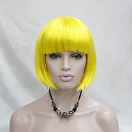 Femme Perruque Synthétique Sans bonnet Raide Jaune Coupe Carré Perruque de Cosplay Perruque Halloween Perruque de carnaval Perruque