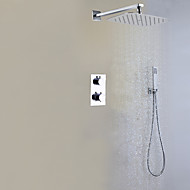 Bathroom Shower Faucet With Thermostatic Valve and Brass Hand Shower / Contemporary / Chrome / Wall Mounted