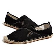 Men's Flats Spring Summer Fall Comfort Linen Casual Flat Heel Black White Khaki