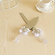 Wedding Accessories Cllear Handle Cake Knife And Server Serving Set with Crystal Heart,White