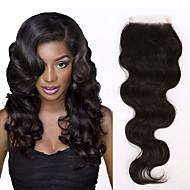 10-20inch Noir Tissée Main Ondulation naturelle Cheveux humains Fermeture Brun roux Dentelle Suisse 80g-150g gramme Moyenne Cap Taille
