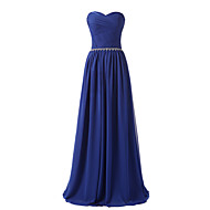 Formal Evening Dress A-line Sweetheart Floor-length Chiffon with Crystal Detailing