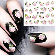 Fashion Printing Pattern Water Transfer Printing Gouache Flower Rose Nail Stickers