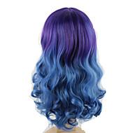 fremhæve lilla blå ombre farve mode hår styling krop bølge lang længde parykker