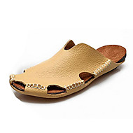Men's Sandals Spring / Summer Comfort Leather Casual Flat Heel Others Black / Brown / Yellow / Almond Walking
